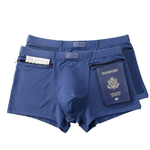 Men's Underwear Secret Pocket Panties, Medium Size 2 Packs(Blue)