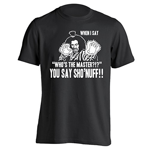 Classic 80s Clothing (Who's The Master You Say Sho'Nuff Retro Kungfu Movie ShoNuff Sho Nuff Harlem Shogun Last Dragon 80s 90s Comedy Classic Movie Humor Mens Shirt XXX-Large Black)