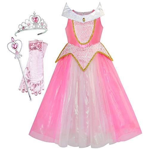 Princess Aurora Costume Briar Rose Accessories Crown Magic Wand Size 6 -