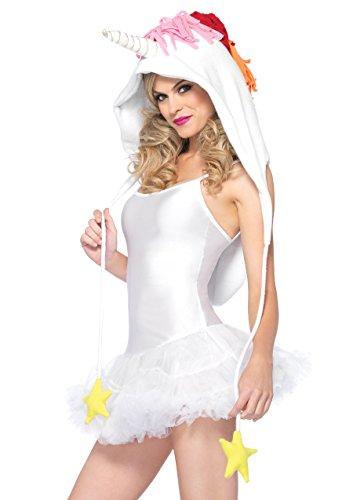 Leg Avenue Women's Fleece Unicorn Hood with Star Ties, White, One Size