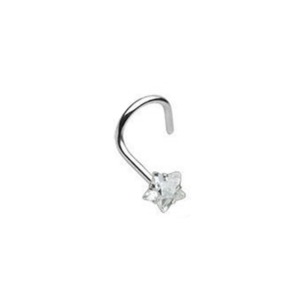 (1 piece) STAR 3MM PRONG CZ Nose Screw Surgical Steel 20g (clear CZ)