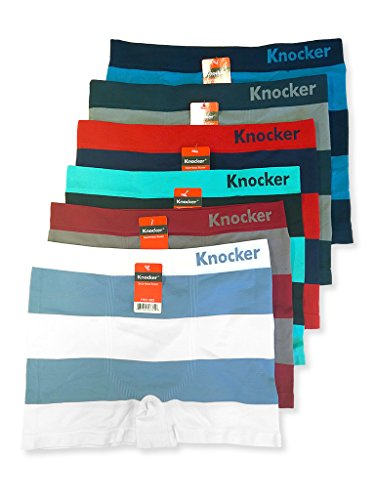 Knocker Men's 6-Pack Seamless Boxer Brief Athletic Compression Workout Underwear, Block Stripes,  One Size Fits Most (Size: 32