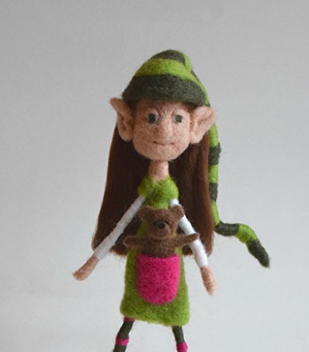 Needle Felted Bear (Handmade Posable Needle Felted Girl Elf with Teddy Bear)
