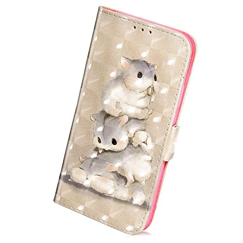 Herbests Compatible with Huawei P Smart 2019 Wallet Case Luxury 3D Bling Glitter Sparkle Leather Flip Case Kickstand Card Slot Holder Wrist Strap Magnetic Closure,Mouse