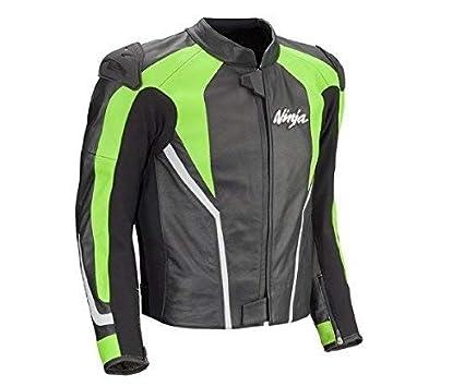 Kawasaki Ninja Chaqueta de Cuero Negro/Verde - 2XL: Amazon ...