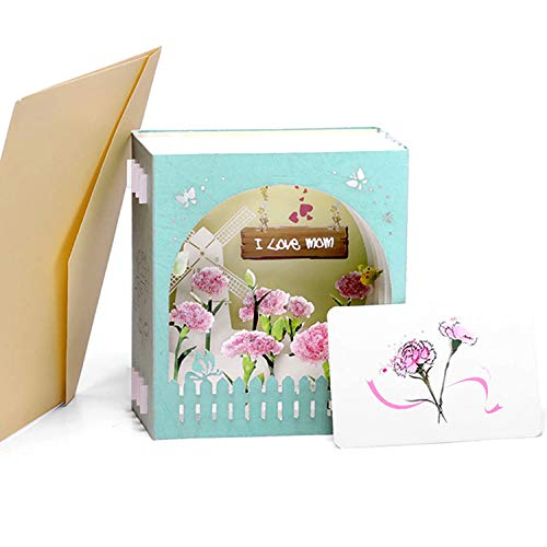 (Paper Spiritz Pop up Mother's Day Boxes Cards, Birthday, I Love Mom with Envelope, Gift Box Card for Mommy Wife Mum Mother)