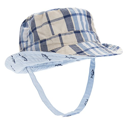 9aa53c4d2db Galleon - Eriso Baby Toddler Plaid Bucket Reversible Sun Protection Animal  Hat ((21.2