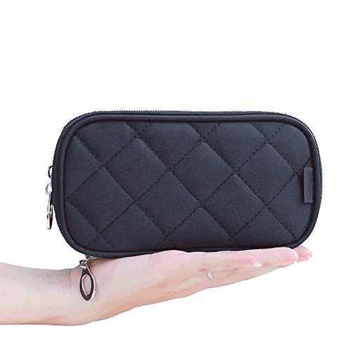 ag,Double Layer Makeup Bag, With Mirror Beauty Makeup Brush Bags Travel Kit Organizer,Cosmetic Bag Professional Multifunctional Organiser For Women (Double Layer, S-Black) (Double Compartment Travel Bag)