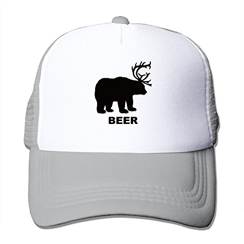 Price comparison product image Bear And Deer Is Beer Mesh Hat Grid Cap Trucker Hat Unisex Ash One Size