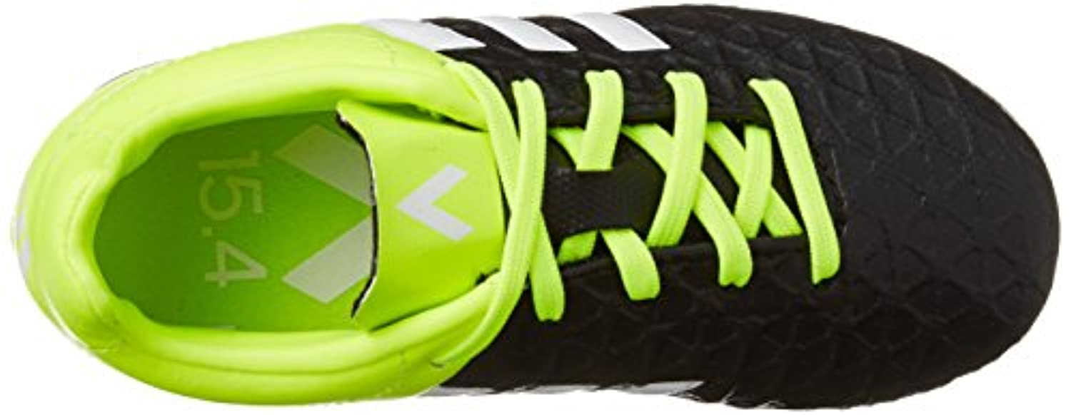 adidas Boys' Ace 15.4 Firm Ground Cleats Football Boots, Noir (Core Black/White/Solar Yellow), 3.5 UK