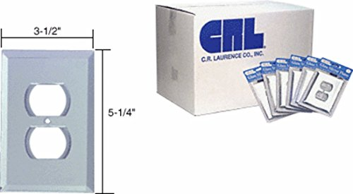 Duplex Plug Glass Mirror Plate - CRL Clear Mirror Glass Single Duplex Plug Mirror Plates in Bulk Pack Pack of 100 by CR Laurence