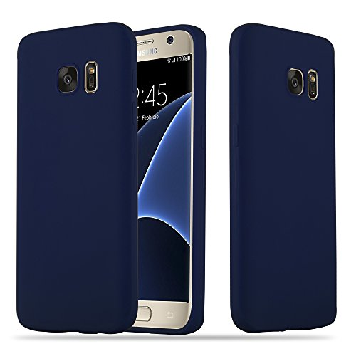 Cadorabo Case Works with Samsung Galaxy S7 in Candy Dark Blue (Design Candy) – Shockproof Scratch Resistant Gel Case Protective Shell Bumper Skin Back Cover