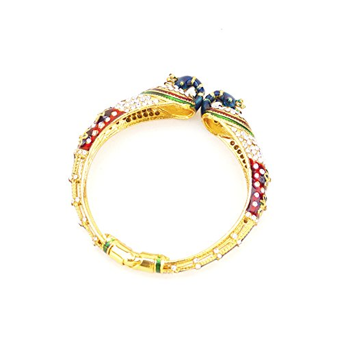 Ethnic Indian Peacock Openable Gold Plated Bangle Bracelet with Cubic Zirconia Valentines Gift For Woman