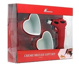 Creme brulee torch include 2 heart shape ramekin set