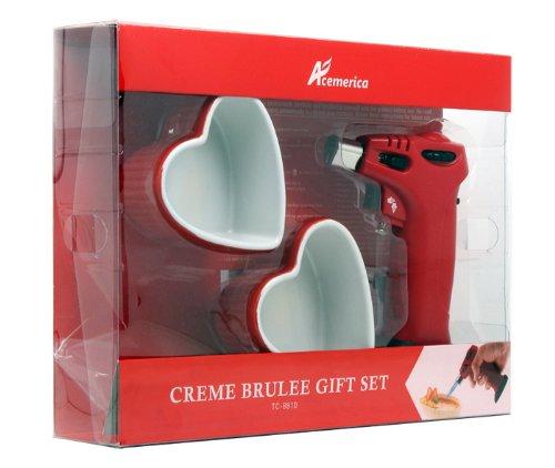 Creme brulee torch include 2 heart shape ramekin gift set ()