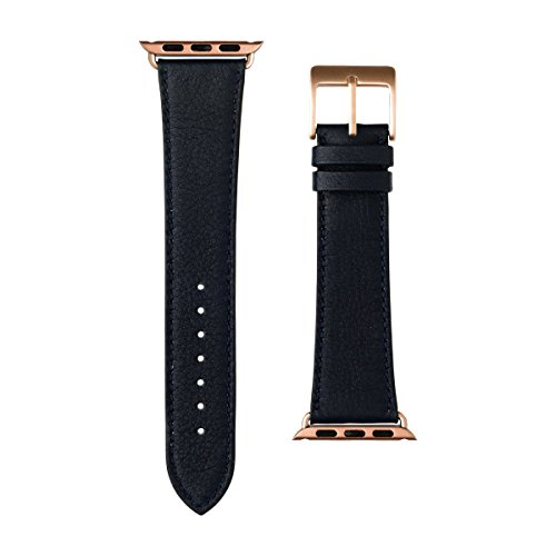 Roobaya   Premium Sauvage Leather Apple Watch Band in Dark Blue   Includes Adapters matching the Color of the Apple Watch, Case Color:Rose Gold Aluminum, Size:38 mm by Roobaya (Image #2)