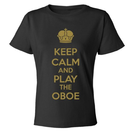 Mashed Clothing Keep Calm And Play The Oboe Women's T-Shirt (Black, Small)