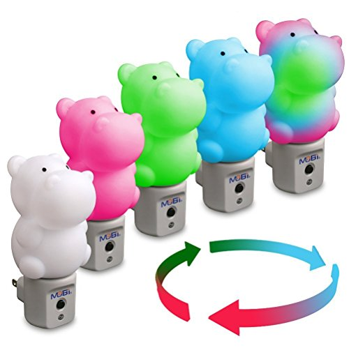WallMate Cool LED Night Light for Kids, Toddlers & Sleeping Baby - Wall Plug-In Outlet (Hippo) by MOBI (Image #2)