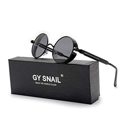 GY snail Gothic Polarized Sunglasses for Men, Round Metal Frame, Retro Steampunk Sun Glasses Women, UV400 Protection Lens (Black frame/Black ()