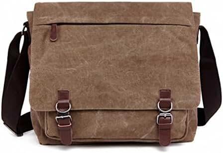 Kenox Vintage Canvas Laptop Messenger Bag School Bag Business Briefcase 16 Inches