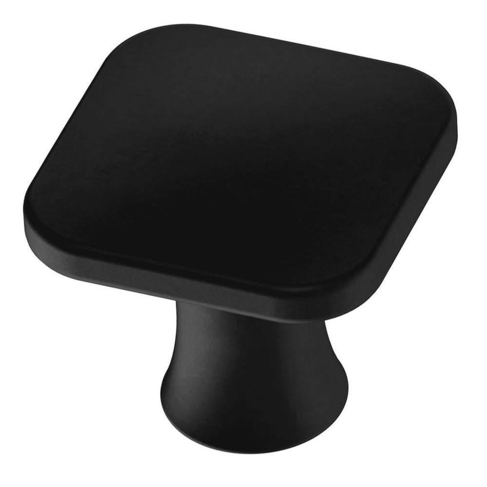 Aviano 25 Pack Matte Black Cabinet Hardware Square Knob - 1-1/8'' (Matte Black)