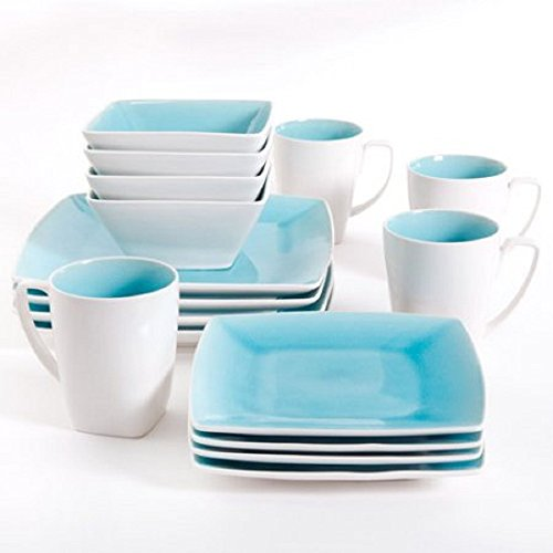 Gibson Studio Pleasanton 16-Piece Dinnerware Set, Square, Tu