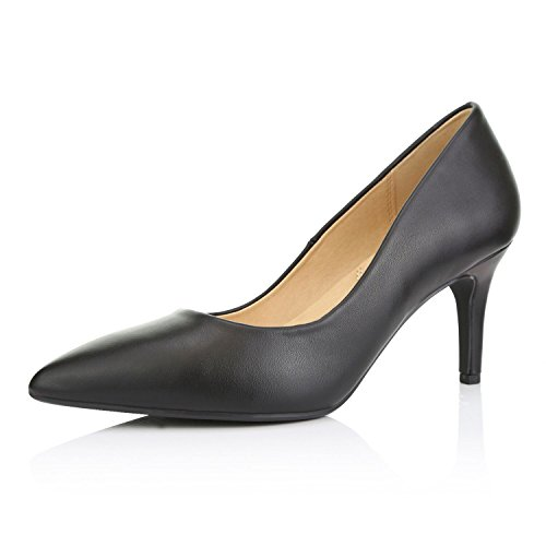 DailyShoes Women's Comfortable Elegant high Cushioned Low Heels Pointy Close Toe Stiletto Pumps Shoes, Black PU, 7 B(M) -