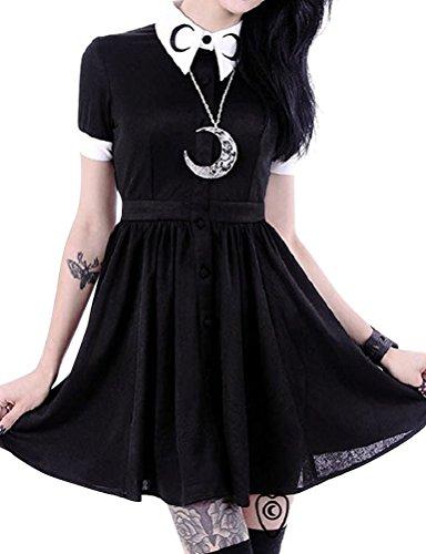 Nlife-Women-Gothic-Punk-Short-Sleeve-Plus-Size-Dress