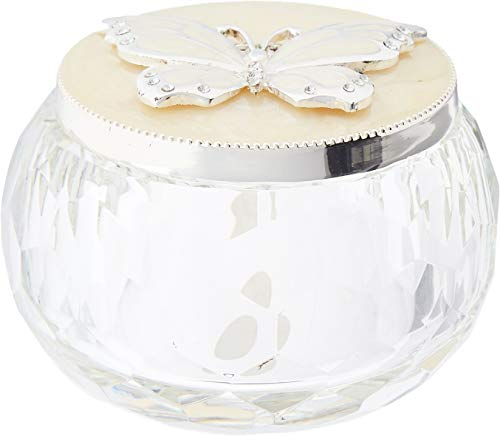 XoticBrands The Decorative 2.28 Inch Trinket Box (Silver Butterfly) -Animal, ((L) 2 7/8 White