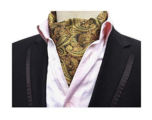 Men's Paisley Silk Cravat Tie Bronze Formal Evening Patry Cravat Scarf Ascot Neckties