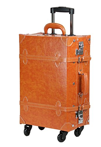 MOIERG Vintage Trolley Luggage Camel Medium (81-55009-72) (Trunk Suitcase)