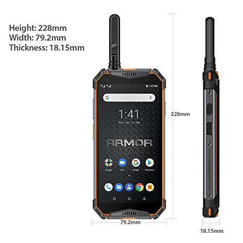 Ulefone Armor 3WT Rugged Cell Phones Unlocked, IP68 Walkie Talkie Waterproof Smartphone, 10300mAh, 5.7 Inch, 6GB + 64GB, Android 9.0, 4G Dual SIM, Compass NFC GPS OTG Shockproof, Dustproof (Orange)