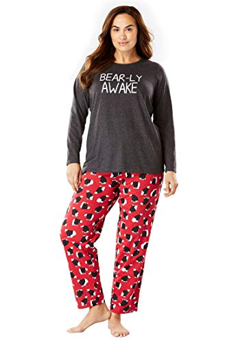 Dreams & Co. Women's Plus Size Holiday Print Pj Set - Classic Red Polar Bear, 26/28