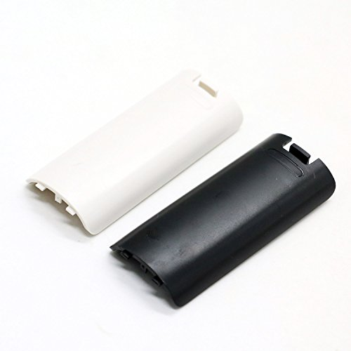 HUELE 4pcs Black and White Replacement Battery Back Door Cover Shell for Nintendo Wii Remote Controller