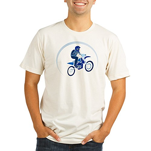 Truly Teague Organic Men's Fitted T-Shirt Motocross MX Flying Dirt Bike in Blue - Large
