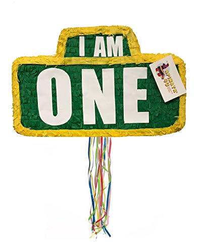 APINATA4U I AM ONE Green & Yellow Sign Pinata for First Birthday Pull Strings -