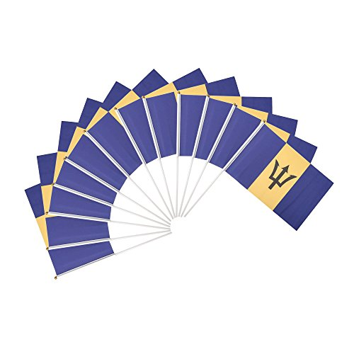 - Barbados Polyester Country Flags Desk Outside Waving Parade (12-Pack Hand Flag)