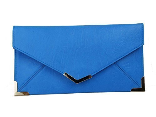 Trim For Faux Bag Purse Blue Haute Hand Envelope Party Gold Clutch Small Prom Bridal Leather Diva's Womens gXxffwdn8q
