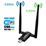 wi fi adapter for laptop - Wireless USB WiFi Adapter, Techkey 1200Mbps Dual Band 2.4GHz/300Mbps 5GHz/867Mbps High Gain Dual 5dBi Antennas Network WiFi USB 3.0 for Desktop Laptop with Windows 10/8/7/XP, Mac OS X, Ubuntu Linux