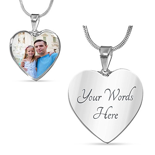 Necklace Photo Awesome - Customized Personalized Photo Silver Heart Necklace with Engraving Option - Put Your Favorite Picture on This Jewelry with Your Engraved Custom Message as a Special & Unique Gift
