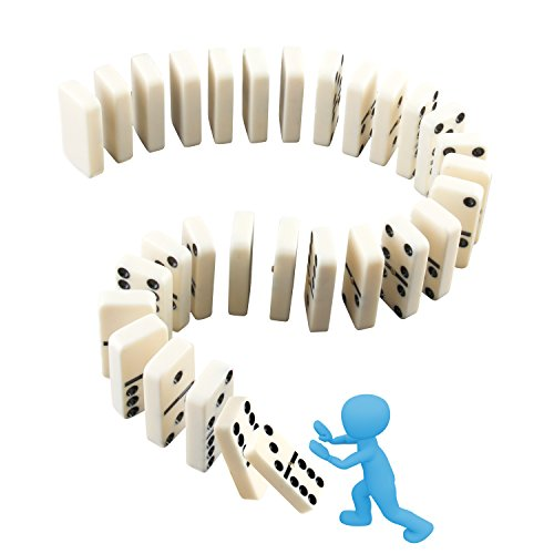 Dominoes Set, Kictero Set of 28 Double Six Dominos Game Tiles with Spinner, Building Blocks Racing (Jumbo Domino Dots)