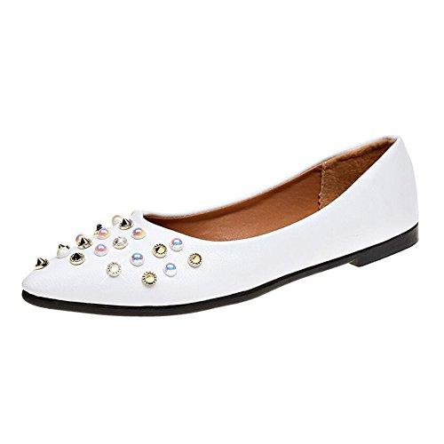 Mouth Shoes Comfort Shoes Comfort PU Summer Women's Bean Shoes White Fashion Shallow Women's GAOLIXIA Flat Walking Outdoor Rivets Shoes Colors 3 Casual EwFxqBfIP