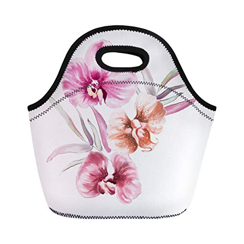 (Semtomn Lunch Bags Blossom Pink Summer Watercolor Orchid Flower Purple Abstract Branch Neoprene Lunch Bag Lunchbox Tote Bag Portable Picnic Bag Cooler Bag)