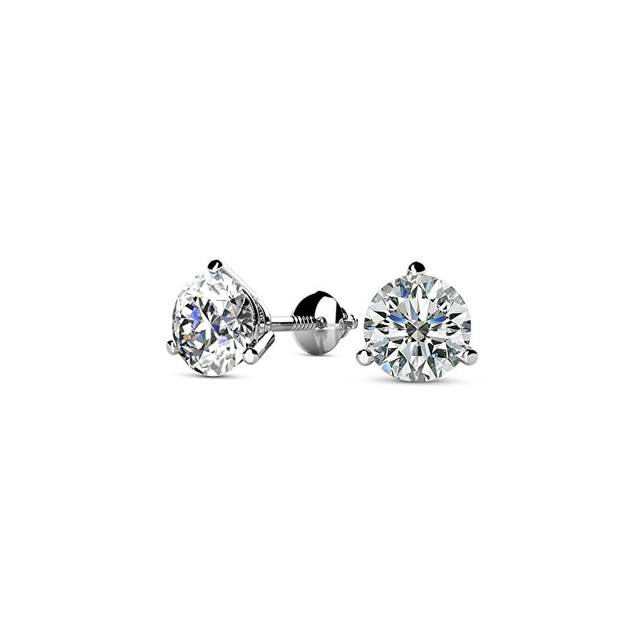 1/2 2 Carat Total Weight Round Diamond Stud Earrings 3 Prong Screw Back (J K Color I1 Clarity)