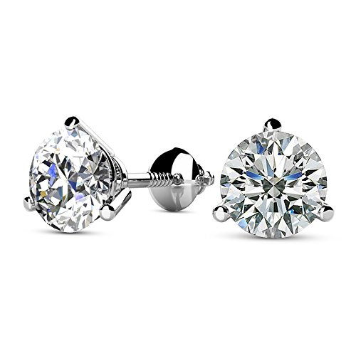 1 1/4 1.25 Carat Total Weight White Round Diamond Solitaire Stud Earrings Pair set in 14K White Gold 3 Prong Martini Screw Back (H-I Color SI2-I1 - Studs Prong Martini 3