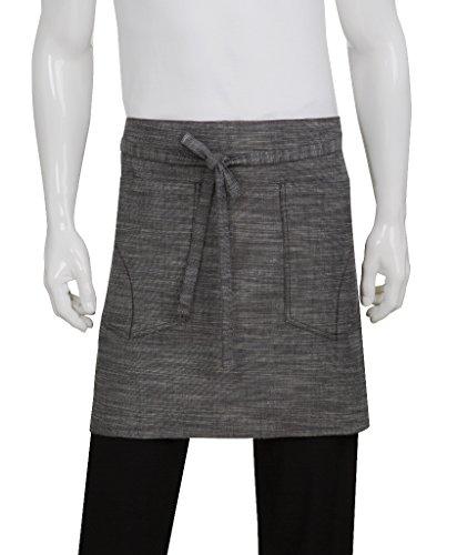 Chef Works Unisex Corvallis Half Bistro Apron, Black/Steel Gray, One Size