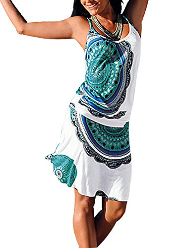 Jusfitsu Women's Summer Casual Dress Strappy Cotton Midi Beach Dresses Print Flare Beachwear Stretchy GreenFloral L