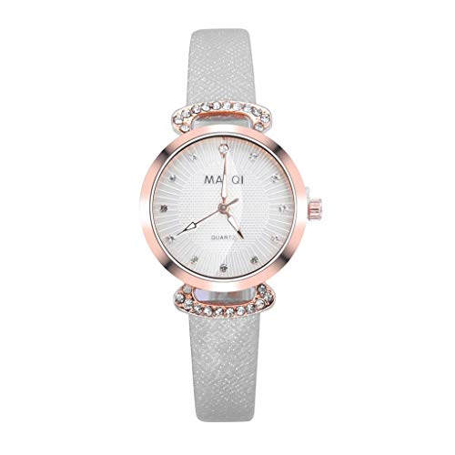 LUXISDE Watch Women Fashion Embossed Sun Veins Dial Flat Glass Temperament Leather Belt Lady Watch White