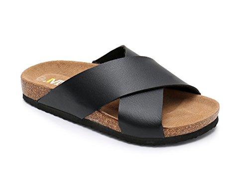 - Women Leather Sandals Arizon Slide Shoes (US 9, Black)