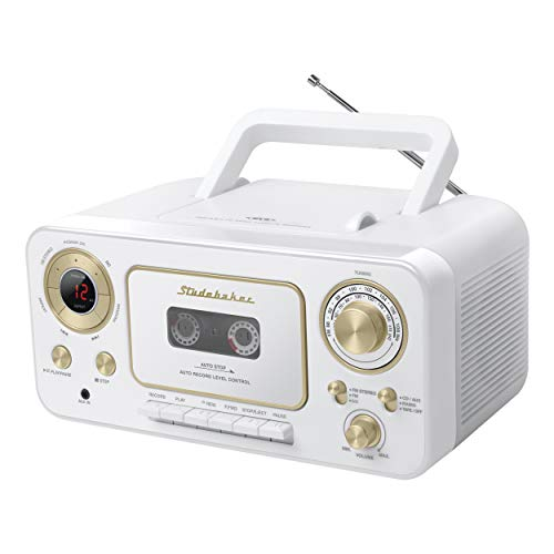 Studebaker SB2135WG Portable CD Player with AM/FM Radio and Cassette Player/Recorder in White and Gold